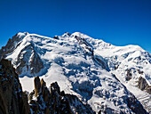 The glaciers of the French's side of Mont Blanc massif, seen from the Aiguille du Midi, Chamonix, French alps