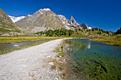 The path between glacial lakes in Veny Valley, with the Mont Blanc massif in the background, Veny Valley, Aosta valley