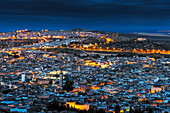 panoramic view of the medina of Fez photographed in the blue hour, Morocco.