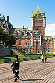 Quebec City walkway with the Frontenac castle in the background. Canada