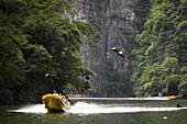 Boat tours take visitors through Sumidero Canyon, a popular tourist destination in Chiapas state, Mexico on June 26, 2008. Lush limestone cliffs rise up to 1000 m 3300 ft, above the Grijalva River as it winds through the dramatic canyon.
