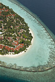 Aerial view of Kurumba Resort, North Male' Atoll, Maldives on 8 September 2007. Kurumba Resort was the first resort opened in the Maldives in the 1970's . Since the resorts opening the Maldives Government has implemented a one resort, one island policy, w