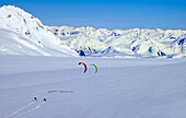 Aaron Sales and Jake Buzianis enjoy solitude on the Harding Ice Field, Alaska.