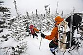 Joe Lentini and  Joe Klementovich on the Boott Spur Trail across from Tuckerman's Ravine and on Mt. Washington.