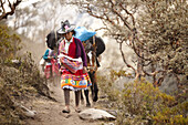 a young Peruvian girl typically dressed carries climbing equipment on horses on a trail at Quebrada Ishinca, Cordillera Blanca, Peru.