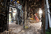 An interior cavern at the Cathedral of Junk. Because people can enter the structure, the City of Austin considers it a building.