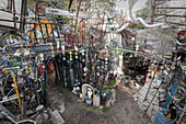The main cathedral in the Cathedral of Junk, a yard art installation of junk in Austin, TX. Once considered a symbol of weird Austin, the structure was dismantled after 20 years due to pressure from city codes.