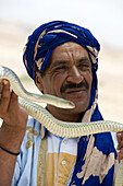 A local snake charmer lures the tourists to the roadside stand by handling a venomous snake in Morocco.