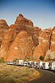 Moab, UT - SEPTEMBER 19th 2009:  Crowded motor home campers on vacation in Arches National Park