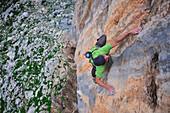 Alex Honnold climbs a limestone route on the Greek Islands
