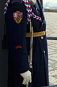 A guards uniform and his bayonet at Prague Castle in Prague,  Czech Republic.