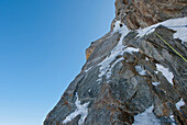 One of the final exit pitches on No Siesta on the Grandes Jorasses north face, Chamonix. This route is thought of as one of the hardest in the Alps, and takes 3 days on the face itself.