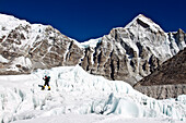 British Mountaineer Adele Pennington walks on the glacier below the Khumbu ice fall near to Everest Base Camp, Adele has twice guided clients to the summit of Everest.