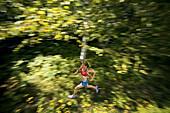 Abi Watras, trail running in Lyme, NH.