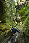 Davis Creek, South of Mount Rainier, WA. Canyoning is a new sport that consists in travelling down river canyons by walking, gliding, climbing, rappelling abseiling, swimming or jumping. Rob Cobb stems down a slippery section of the Davis Creek canyon.