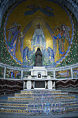 Altar in front of the Basilica of the Rosary at the site of the grotto where a farm girl saw a vision of the Virgin Mary, Lourdes, France. This spot is one of the top pilgrimage destinations in the world for Christian faiths.