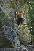 Brandyn Gray getting in a late summer bouldering session on Granite Ridge in Sandpoint, Idaho.