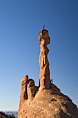 'Climbers Eric Odenthal and Kevin Kane on ''Elvis's Hammer'', Sand Flats road area, Moab, Utah.'