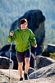 Rosie Hackett hiking high in the mountains in South Lake Tahoe, California.