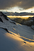 Selkirk Mountains and glaciers at sunset, Bugaboo Provincial Park, British Columbia, Canada.