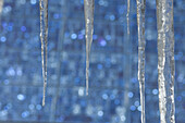 Solar panels and icicles  hanging off roof, Durango, Colorado.