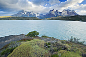 Storm clouds passing over the Cuernos Del Paine on March 1, 2008 in Las Torres Del Paine National Park, Chile.