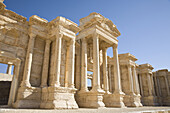 Palmyra, Syria - January, 2008: Roman ruins in the desert.  Palmyra or Tadmore was a 2nd century AD desert oasis used as a strategic staging post for caravans traveling between the Mediterranean Sea and the east.  It was also settled by the Assyrians, and