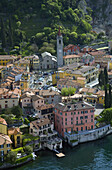 Aerial view of the picturesque village of Varenna on Lake Como, Italy.