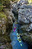 Two kayaks exploring the Walchenklamm canyon, Lake Sylvenstein, Karwendel, Deutschland