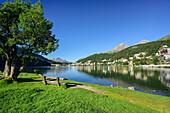 Bench at Lake St. Moritz, St. Moritz, Upper Engadin, Kanton of Graubuenden, Switzerland