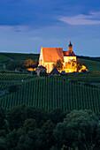 Vineyards and Maria im Weingarten pilgrimage church at dusk, Volkach, Franconia, Bavaria, Germany