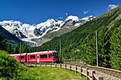 Rhaetian Railway in front of Bernina range with Piz Palue, Piz Bernina and Piz Morteratsch, valley of Morteratsch, Morteratsch, Bernina, Upper Engadin, Engadin, Grisons, Switzerland