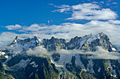View to Montblanc range with Dent du Geant and Grandes Jorasses, Lac d'Arpy, Graian Alps range, valley of Aosta, Aosta, Italy
