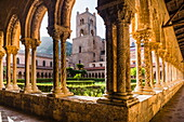 Duomo di Monreale at sunset (Monreale Cathedral), courtyard gardens, Monreale, near Palermo, Sicily, Italy, Europe