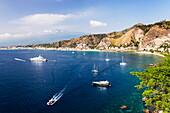 Giardini Naxos Bay, boats in the harbor at Taormina, Sicily, Italy, Mediterranean, Europe