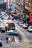 Historic street car and street scene, San Francisco, California, United States of America, North America