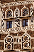 Architectural detail, Old City of Sanaa, UNESCO World Heritage Site, Yemen, Middle East