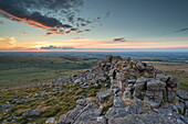 Summer sunset over Dartmoor National Park, Devon, England, United Kingdom, Europe