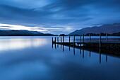 Darkness descends over Ashness Jetty, Derwent Water, Lake District National Park, Cumbria, England, United Kingdom, Europe