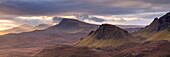 The Trotternish mountain range at dawn viewed from the Quiraing, Isle of Skye, Inner Hebrides, Scotland, United Kingdom, Europe
