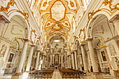 Ornate interior columns, stucco and friezes in the Cathedral of San Lorenzo in this historic northwest port city, Trapani, Sicily, Italy, Mediterranean, Europe