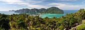 Ao Ton Sai and Ao Dalam bays from viewpoint, Koh Phi Phi, Krabi Province, Thailand, Southeast Asia, Asia