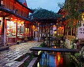 Early evening street scene in the Old Town, Lijiang, UNESCO World Heritage Site, Yunnan Province, China, Asia