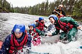 Rafting on the river Kitkajoki, Oulanka National Park, Northern Ostrobothnia, Finland