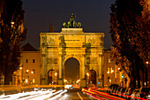 Triumphal arch, Siegestor at night, Munich, Upper Bavaria, Bavaria, Germany