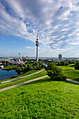View from Olympic hill to the Olympic tower and the BMW tower, Allianz Arena in the background, Munich, Upper Bavaria, Bavaria, Germany