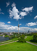 View from the Olympic Hill towards the Olympic tower, Munich, Upper Bavaria, Bavaria, Germany