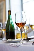 Glass of rose wine