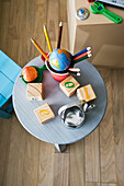 Educational toys on table, overhead view