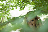 Young woman in nature, selective focus